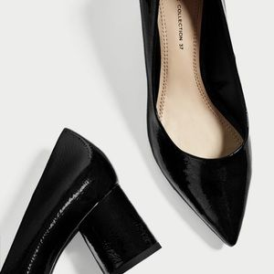 Zara Faux Patent Leather Pointed Stacked Heel Pump